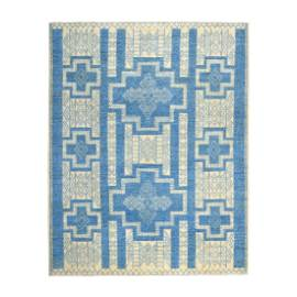 Blue Hand Knotted Pure Wool Peshawar with Berber Motifs