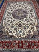 Very Fine Hand Knotted Silk&Wool Persian Esfahan Rug