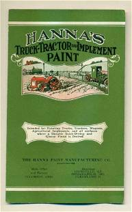 c 1920 HANNA s TRUCK TRACTOR & IMPLEMENT PAINT CHIP