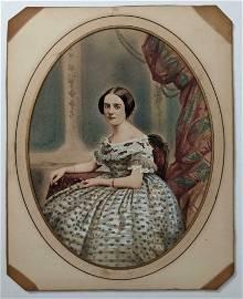 ca. 1860 HEAVILY TINTED folk art SALT PRINT PORTRAIT of