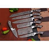 Set 7 everyday work kitchen chef damascus steel knives