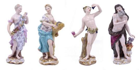 Set of 19th c. Meissen Four Seasons Figurines