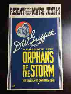 Orphans Of The Storm (1921) US Window Card Movie Poster