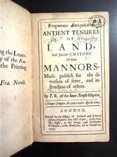 1679 Fragmenta Antiquitatis Antient Tenures of Land