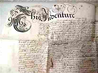 1669 English Vellum Indenture London Alderman Knight
