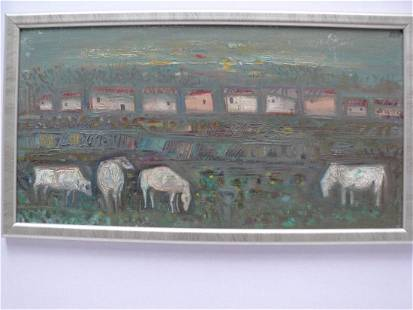Oil painting Cows near the village Pushkarev Andrey