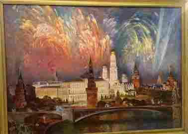 Oil painting Night city Ivan Hryhorovych Nechyporenko