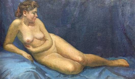 Oil painting Portrait of a naked girl Dorofeev