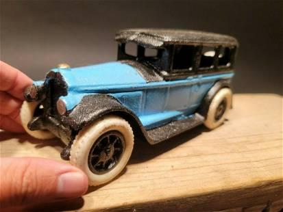 Cast Iron Blue Toy Truck Rubber Wheels Car Sedan