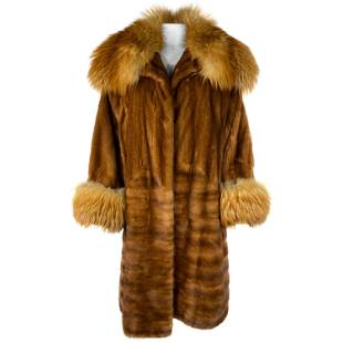 Vintage John Galliano Paris Brown Mink Fur Midi Coat