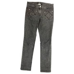 Chanel Paris Grey Denim Skinny Jeans Pants Size 40
