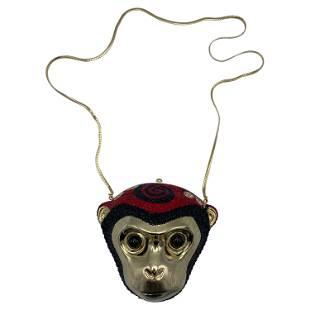 Vintage Judith Leiber Monkey Crossbody Clutch Handbag