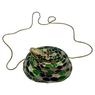 Vintage Judith Leiber Snake Clutch Crossbody Handbag