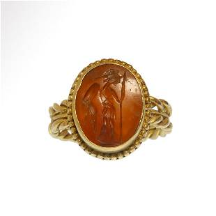 Roman Gold and Cornelian Intaglio Ring with Helmeted