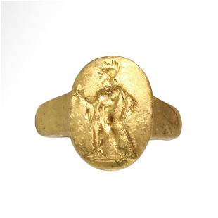 Roman Gold Ring, Warrior with Helmet, Spear and Sword