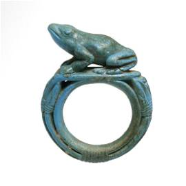 Egyptian Faience Ring with Frog, 18th Dynasty, c.