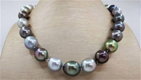 Large 12.2x14.9mm Bright Multi Coloured Tahitian Pearls