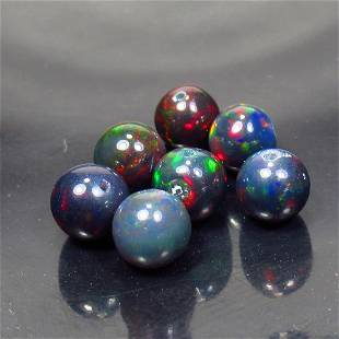 6.35 Ct Natural 7 Drilled Black Fire Opal Ball Beads