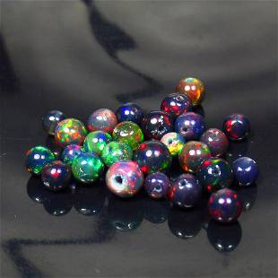 7.95 Ct Natural 24 Drilled Black Fire Opal Ball Beads