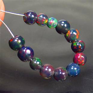 2.54 Ct Natural 13 Drilled Black Fire Opal Ball Beads