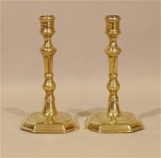 A fine pair of late 17th century French brass stepped