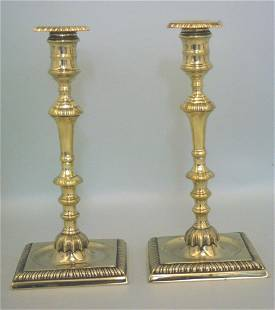 A superb pair of mid 18th century silver form brass