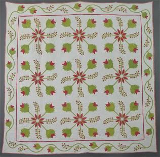 Early Antique Applique Quilt, c. 1850-60