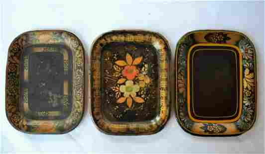 Set/3 Early Painted Tin Tole Trays