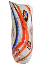 Murano glass inflame vase with filigrana and murrine