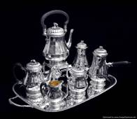 PUIFORCAT (HERMES) - 8pc. LOUIS XVI STERLING SILVER TEA