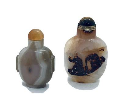 Set of 2 snuff bottles handcarved agate tobbacy box
