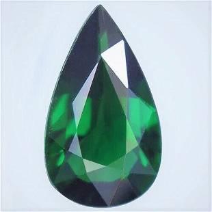 Natural Chrome Green Tourmaline Pear Cut Unheated
