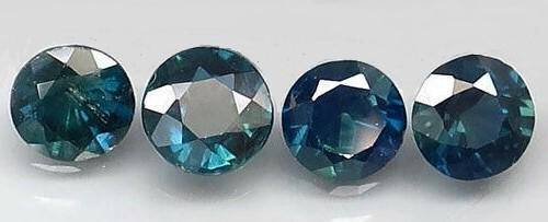 Lot of 4 Natural Blue Green Sapphire Round Cut