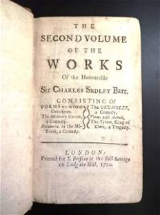 1722 Works of Sir Charles Sedley Plays Leather