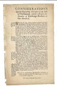 1705 English Broadside Restraining Brokers