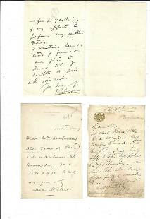 Three 19th C English Notes Signed Somerset