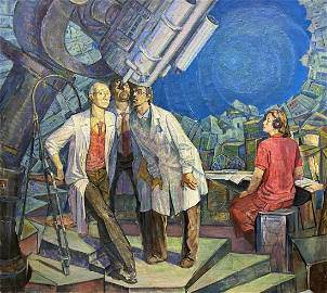 Social realism oil painting Astronomers Nesterov