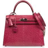 Hermes Kelly 25 Bag Sellier Fuschia Pink Lizard