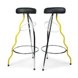 Pair of Yellow Duplex Bar Stools by Javier Mariscal for