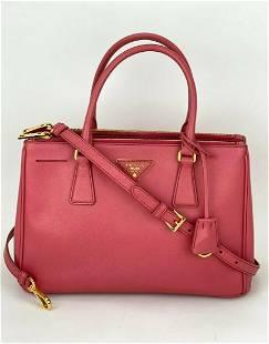 Prada Galleria Double Zip Pink Saffiano Leather Small