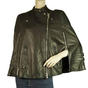 Philipp Plein Black Leather Cape / Jacket multiple zips