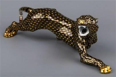 Herend Large 18†Black & Gold Fishnet Tiger Figurine