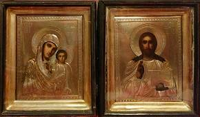Antique 19c Russian Icons Of The Mother of God & Christ