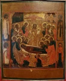 Antique Circa 1800 Russian icon of the Dormition of