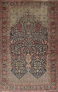 Pre-1900 Antique Vegetable Dye Tehran Persian Area Rug