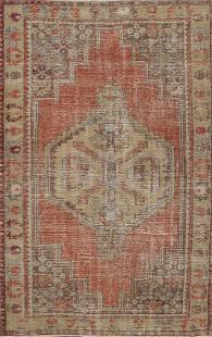 Antique Geometric Anatolian Oriental Area Rug 4x6