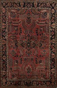 Antique Vegetable Dye Floral Sarouk Persian Area Rug