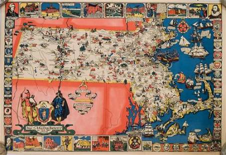 1930 Shurtleff Pictorial Map of Massachusetts -- Map of