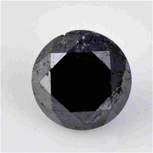 3.26 Carat Fancy Black Color Natural Round Diamond