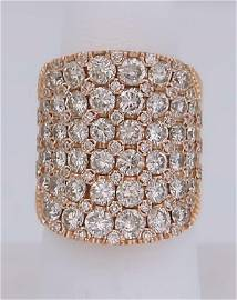 LADIES 14k ROSE GOLD 5.00ct SI1-SI2 DIAMOND COCKTAIL